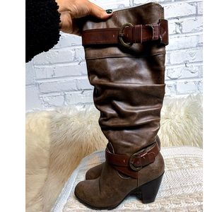 Crown Vintage Slouchy Taupe Brown Knee High Boots